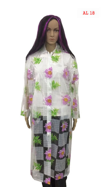 Ladies Chain Raincoats - Clear Print