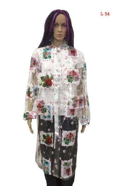 Ladies Chain Raincoat - PVC Clear Printed